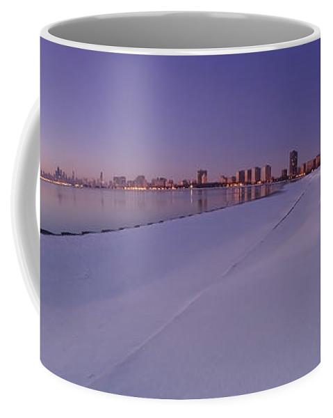 Snow Coffee Mug featuring the photograph Snow And Chicago Skyline Panoramic by Sven Brogren