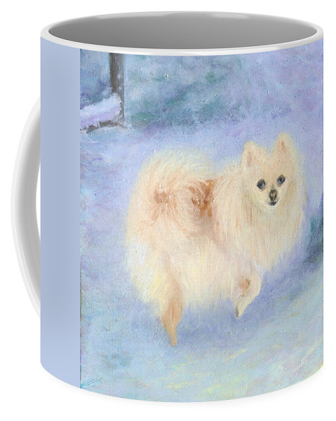 Dog Coffee Mug featuring the painting Snow Angel by Paula Emery