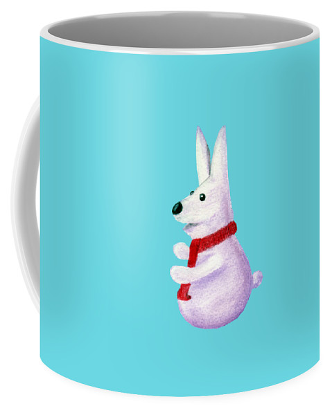 Snow Coffee Mug featuring the painting Snow Bunny by Anastasiya Malakhova