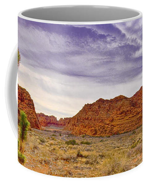 Utah Coffee Mug featuring the digital art Snow Canyon by Ches Black