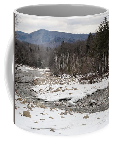 Pemigewasset River Coffee Mug featuring the photograph Snow Caps On The Pemi by Gina Sullivan