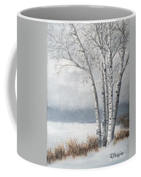 Landscape Coffee Mug featuring the painting Snow Coming Into The South Shore by J O Huppler