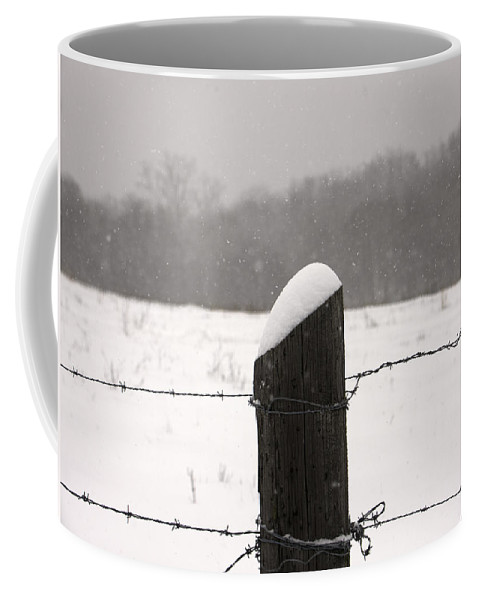 Snow Coffee Mug featuring the photograph Snow Covered Fence Post by Scott Sanders