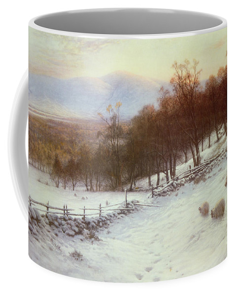 Snow Coffee Mug featuring the painting Snow Covered Fields With Sheep by Joseph Farquharson