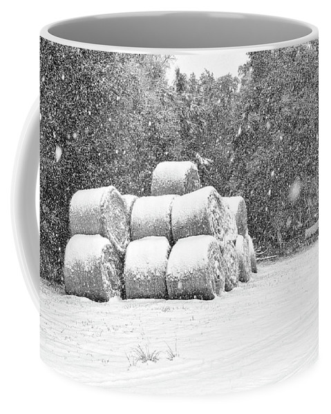 Chisolm Coffee Mug featuring the photograph Snow Covered Hay Bales by Scott Hansen