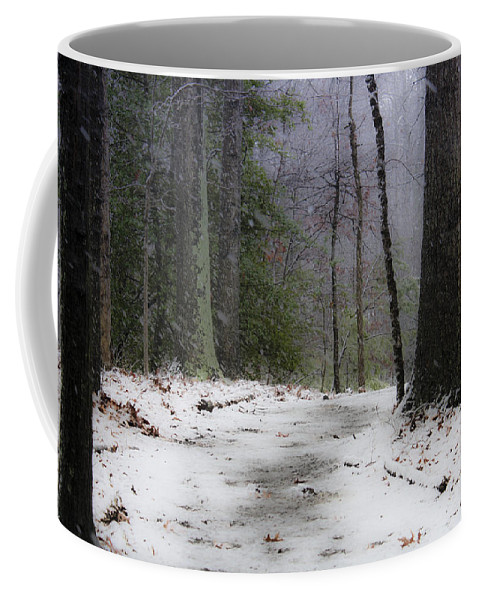 Snow Coffee Mug featuring the photograph Snow Covered Path Quantico National Cemetery by Teresa Mucha