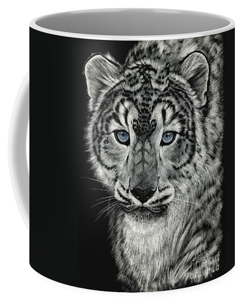 Snow Leopard Coffee Mug featuring the drawing Snow Dragon Leopard by Stanley Morrison