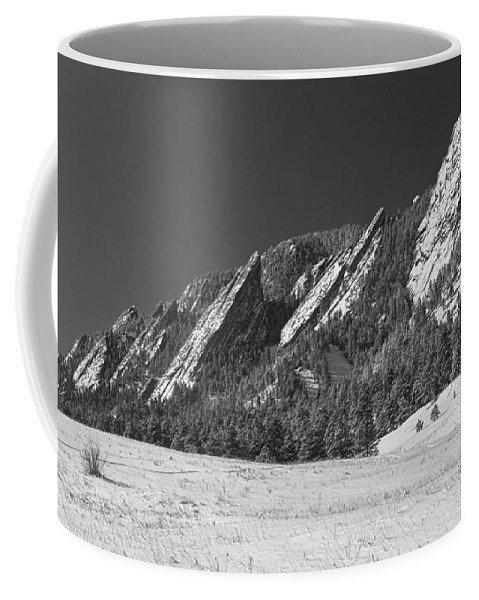 Flatirons Coffee Mug featuring the photograph Snow Dusted Flatirons Boulder Co Panorama Bw by James BO Insogna