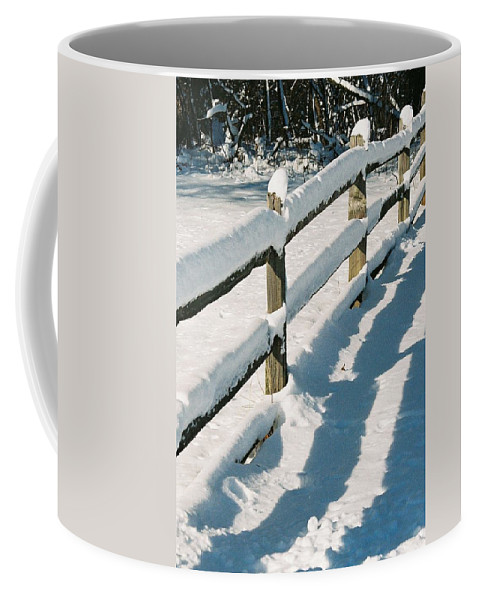 Fence Coffee Mug featuring the photograph Snow Fence by Lauri Novak