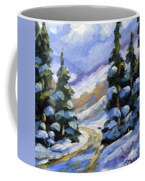 Art Coffee Mug featuring the painting Snow Laden Pines by Richard T Pranke