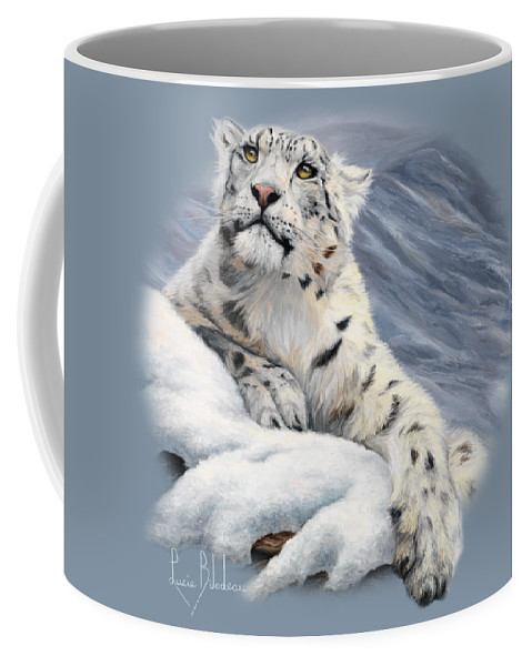Snow Leopard Coffee Mug featuring the painting Snow Leopard by Lucie Bilodeau