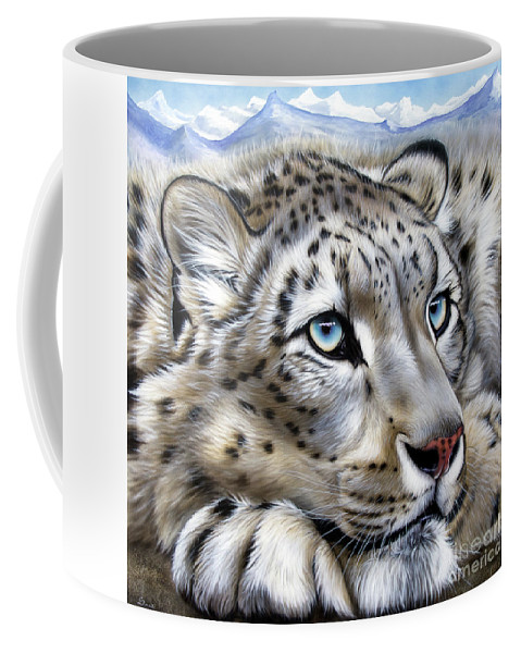 Snow Leopard Coffee Mug featuring the painting Snow-leopard's Dream by Sandi Baker