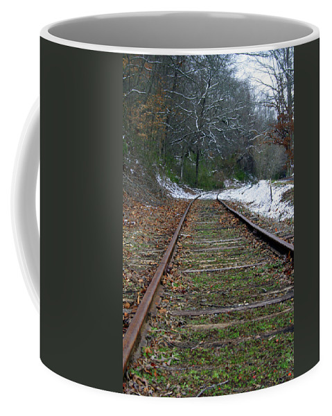 Snow Coffee Mug featuring the photograph Snow On Rails by Shirley Roberson