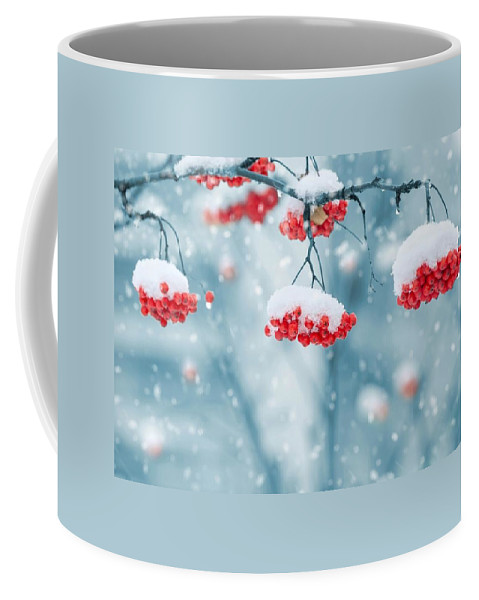 Red Coffee Mug featuring the photograph Snow On Red Berries by FL collection