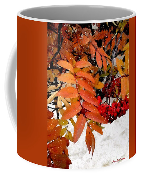 Autumn Coffee Mug featuring the painting Snow On Scarlet Magick by RC DeWinter