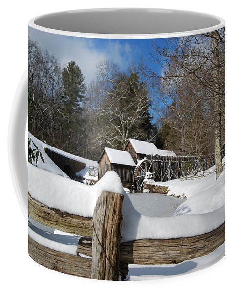 Snow Coffee Mug featuring the photograph Snow On The Old Time Mill by Eric Liller