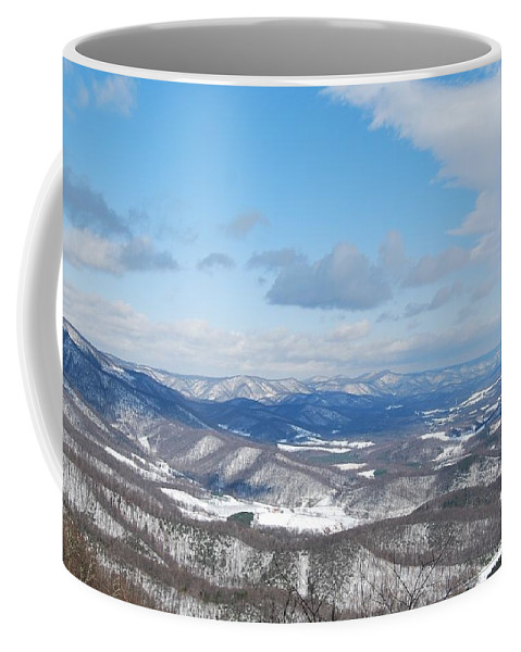 Mountains Coffee Mug featuring the photograph Snow Overlook by Eric Liller