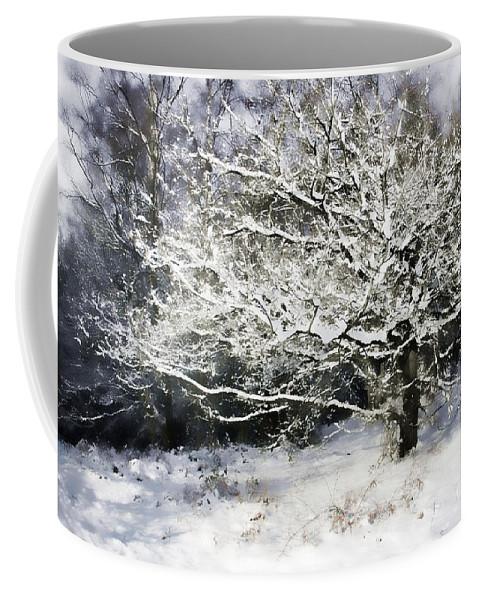 Snow Coffee Mug featuring the digital art Snow Tree by Ann Garrett