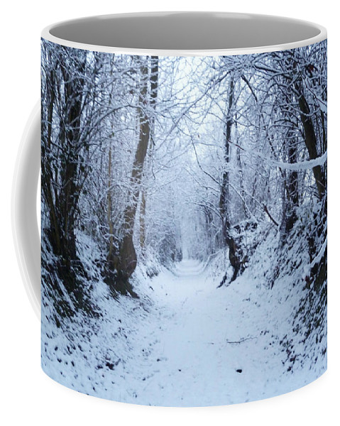Snow Coffee Mug featuring the photograph Snow Walk by Laura Greco