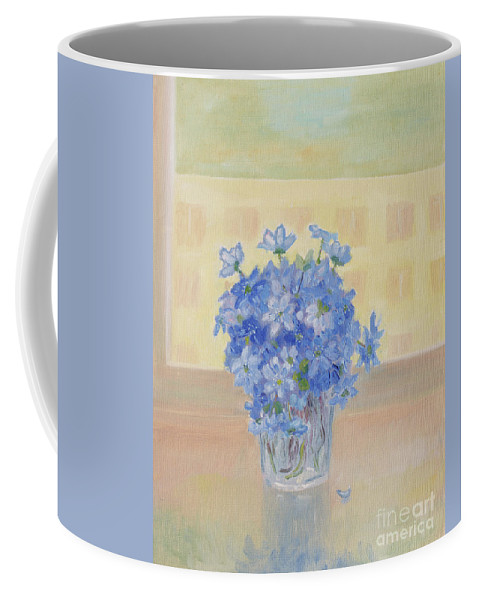 Snowdrops Coffee Mug featuring the painting Snowdrops In A Glass by Oleg Konin