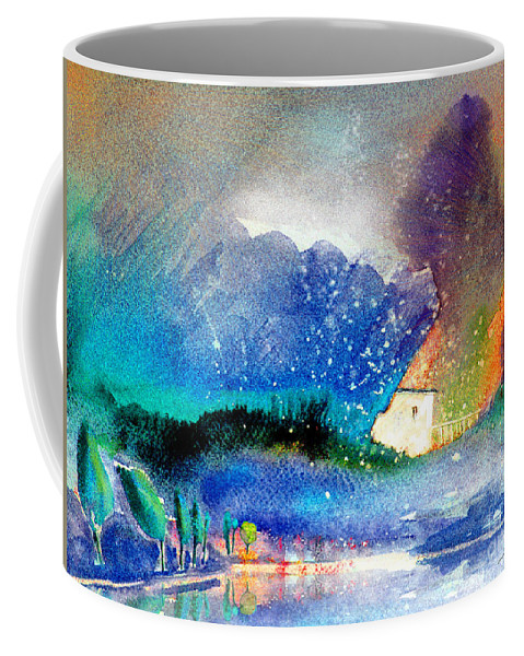 Watercolour Painting Spain Landscape Aquarelle Acuarela Impressionism Coffee Mug featuring the painting Snowing All Over Spain by Miki De Goodaboom