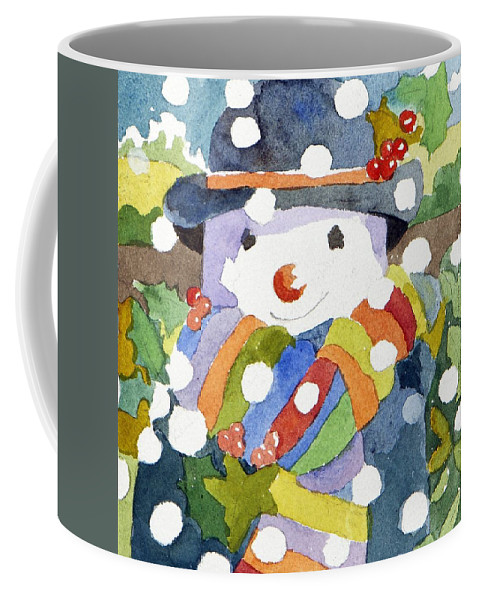 Snow Coffee Mug featuring the painting Snowman In Snow by Jennifer Abbot
