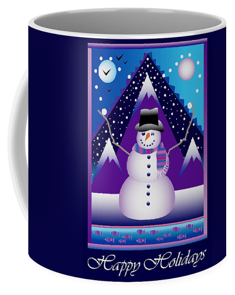 Card Coffee Mug featuring the digital art Snowman Juggler by Nancy Griswold