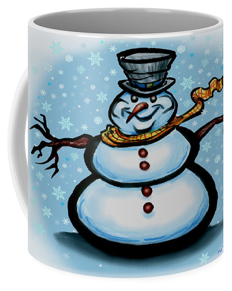 Snowman Coffee Mug featuring the greeting card Snowman by Kevin Middleton