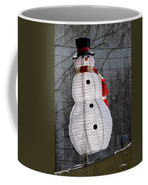 Snowman Coffee Mug featuring the photograph Snowman On The Roof by Christopher Holmes