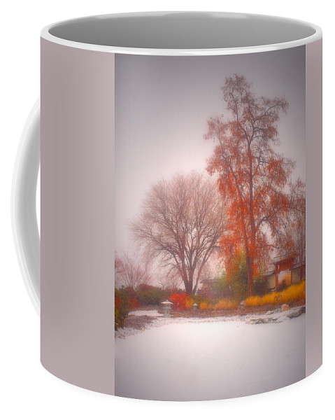 Japanese Gardens Coffee Mug featuring the photograph Snowstorm In The Japanese Gardens by Tara Turner