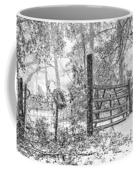 Chisolm Coffee Mug featuring the photograph Snowy Cattle Gate by Scott Hansen