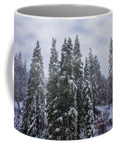 Big Bear Coffee Mug featuring the photograph Snowy Christmas At Big Bear Lake by Tommy Anderson
