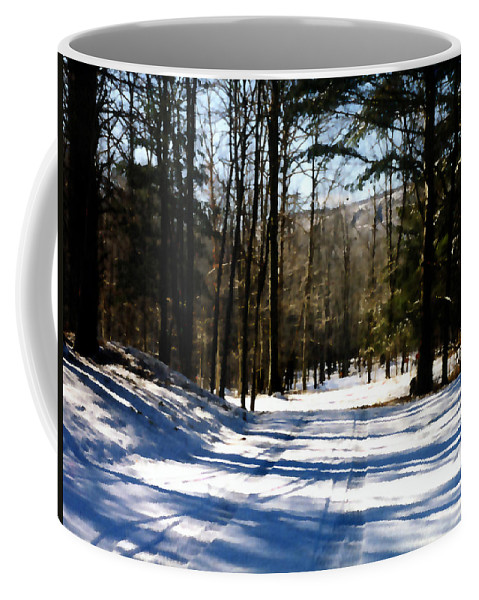 Winter Coffee Mug featuring the painting Snowy Drive by Paul Sachtleben