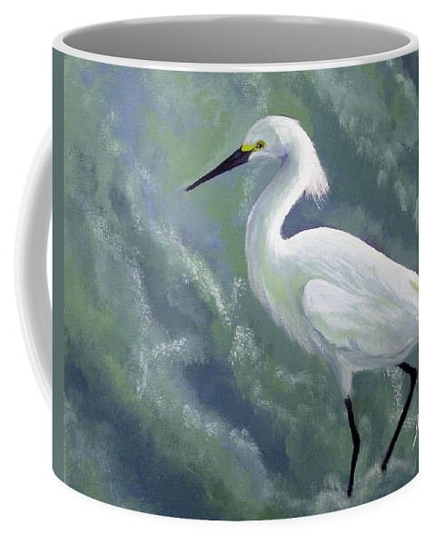 Egret Coffee Mug featuring the painting Snowy Egret In Water by Adam Johnson