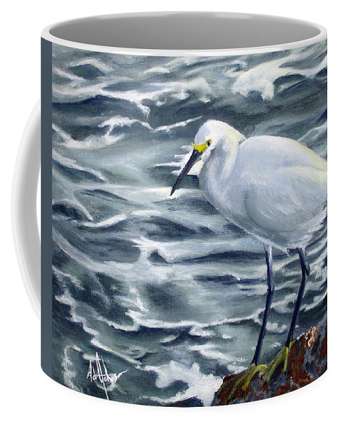 Egret Coffee Mug featuring the painting Snowy Egret On Jetty Rock by Adam Johnson