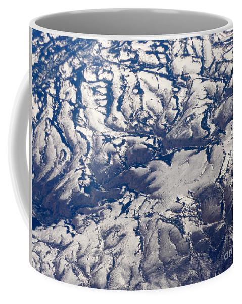 Aerial Coffee Mug featuring the photograph Snowy Landscape Aerial by Carol Groenen