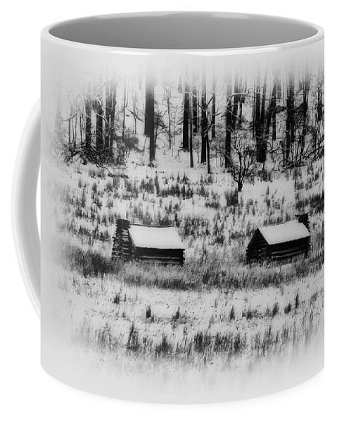 Log Coffee Mug featuring the photograph Snowy Log Cabins At Valley Forge by Bill Cannon