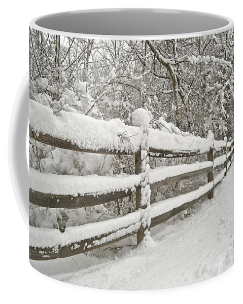 Beautiful Coffee Mug featuring the photograph Snowy Morning by Michael Peychich