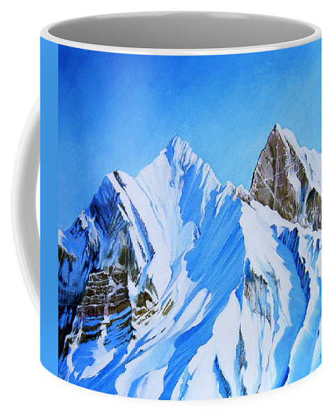 Snow Coffee Mug featuring the painting Snowy Mountain by Juan Alcantara