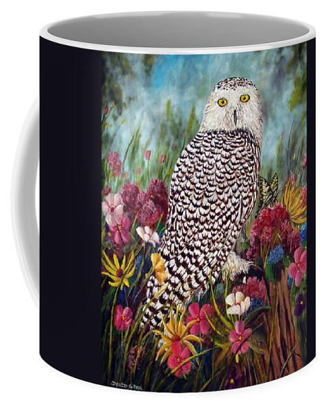 Owl Coffee Mug featuring the painting Snowy Owl by David G Paul