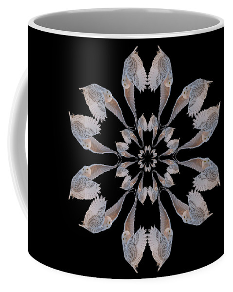 Kaleidoscope Coffee Mug featuring the photograph Snowy Owl Snowflake by Rhoda Gerig