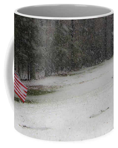 Snow Coffee Mug featuring the photograph Snowy Patriot Quantico National Cemetery by Teresa Mucha