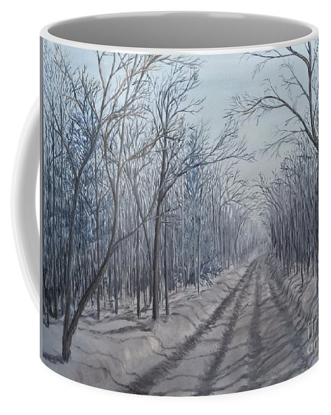 Landscape Coffee Mug featuring the painting Snowy Road At Dawn by J O Huppler