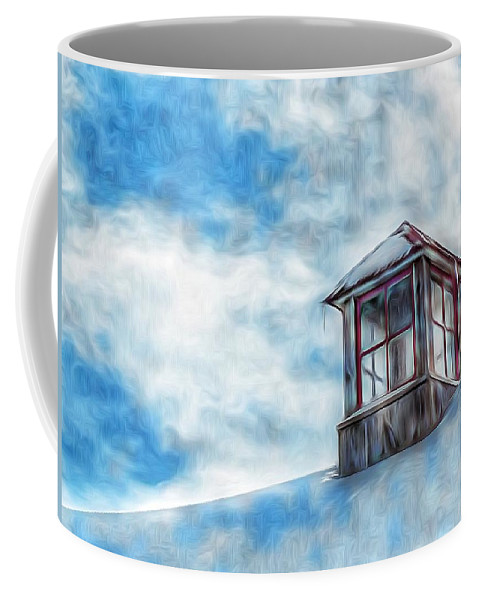 Snowy Rooftop Coffee Mug featuring the photograph Snowy Rooftop by Tom Kiebzak