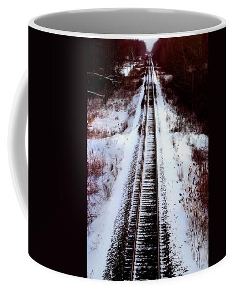 Train Tracks Coffee Mug featuring the photograph Snowy Train Tracks by Anthony Jones