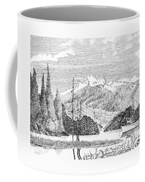 Framed Prints Of Fishing Boats In Alaska Nautical Harbor Bay Boats Coffee Mug featuring the drawing Snug Harbor Alaska Anchorage by Jack Pumphrey
