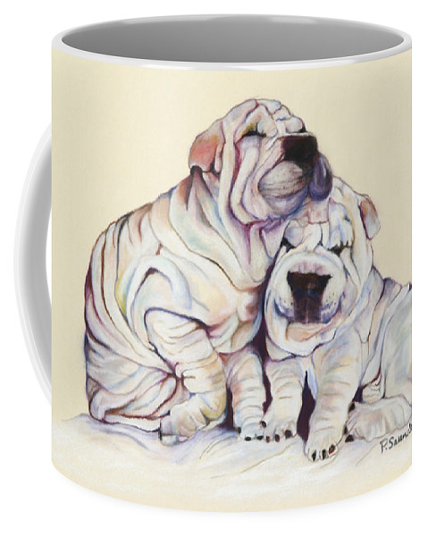 Dog Painting Coffee Mug featuring the pastel Snuggles by Pat Saunders-White