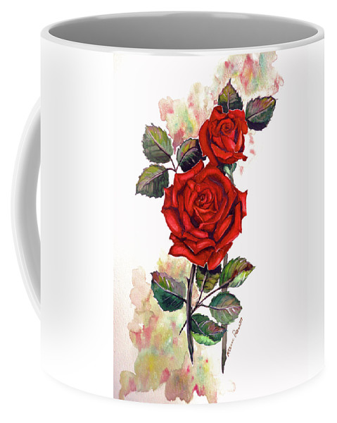 Red Rose Paintings Coffee Mug featuring the painting So Red by Karin Dawn Kelshall- Best