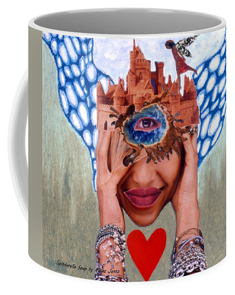 Sandcastle Coffee Mug featuring the drawing Soap Scene # 12 Sandcastle Shrine by Minaz Jantz