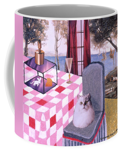 Cat Coffee Mug featuring the drawing Soap Scene #14 Mouse in a Cage by Minaz Jantz